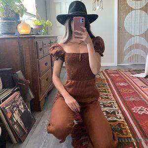 Rust Linen jump suit 🍄